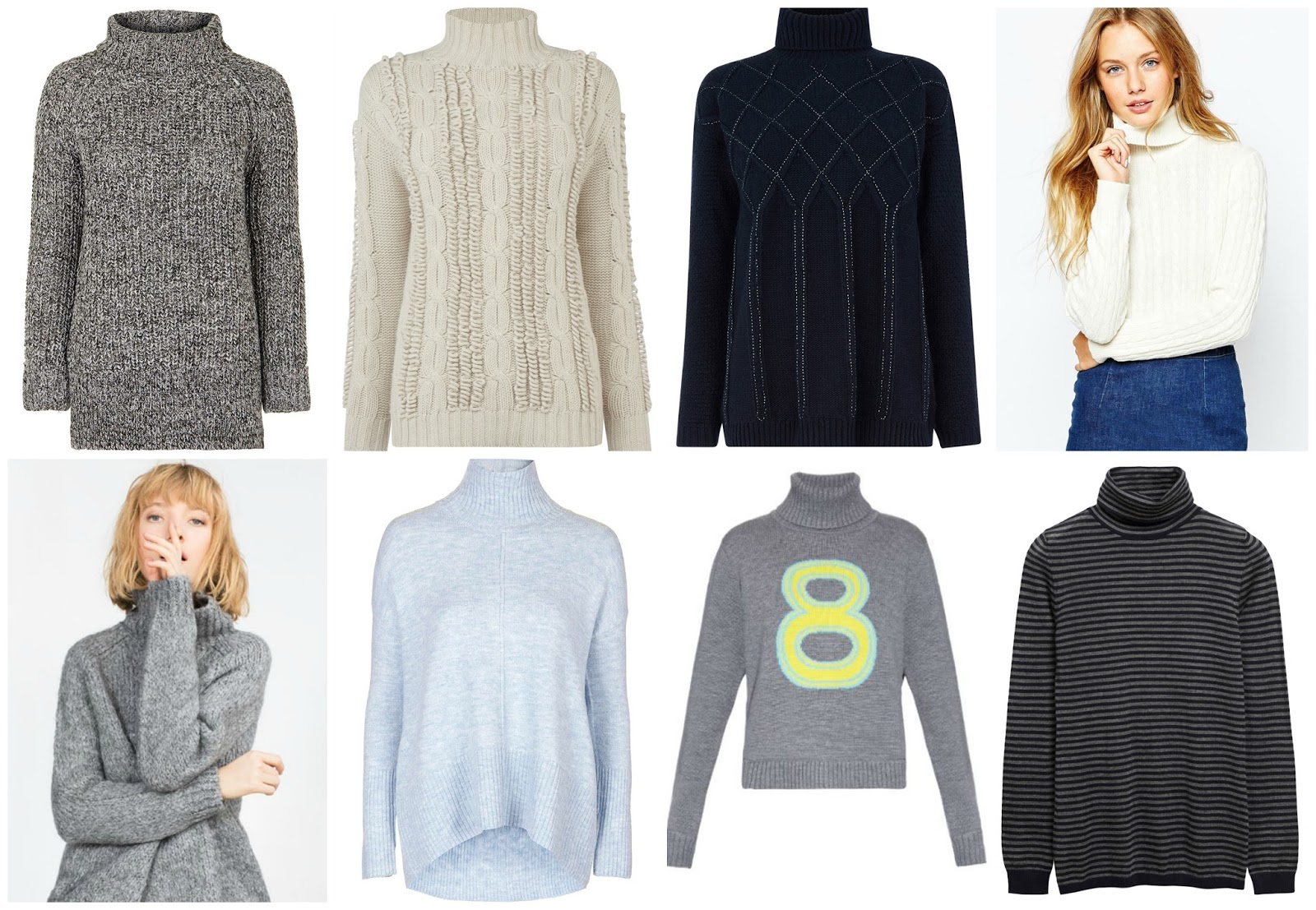 172bcc14 Tweed Oversized Jumper, £42, Topshop; Hand Knit Loopy Jumper, £130,  Warehouse; Bugle Embellished Cable Jumper, £55, Warehouse; Cable Knit Roll  Neck Jumper, ...