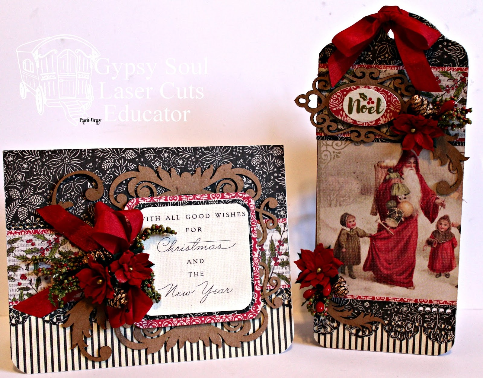 Gypsy Soul Laser Cuts Christmas Card and Tag e Design Two Ways