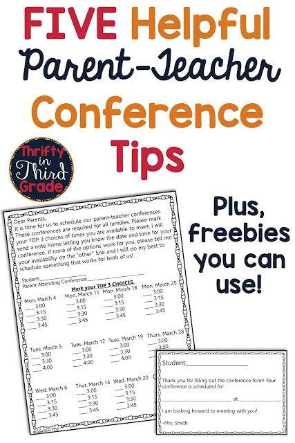 Tips and free resources to help you with your parent teacher conference! The free letter will help you easily plan your conferences around your schedule.