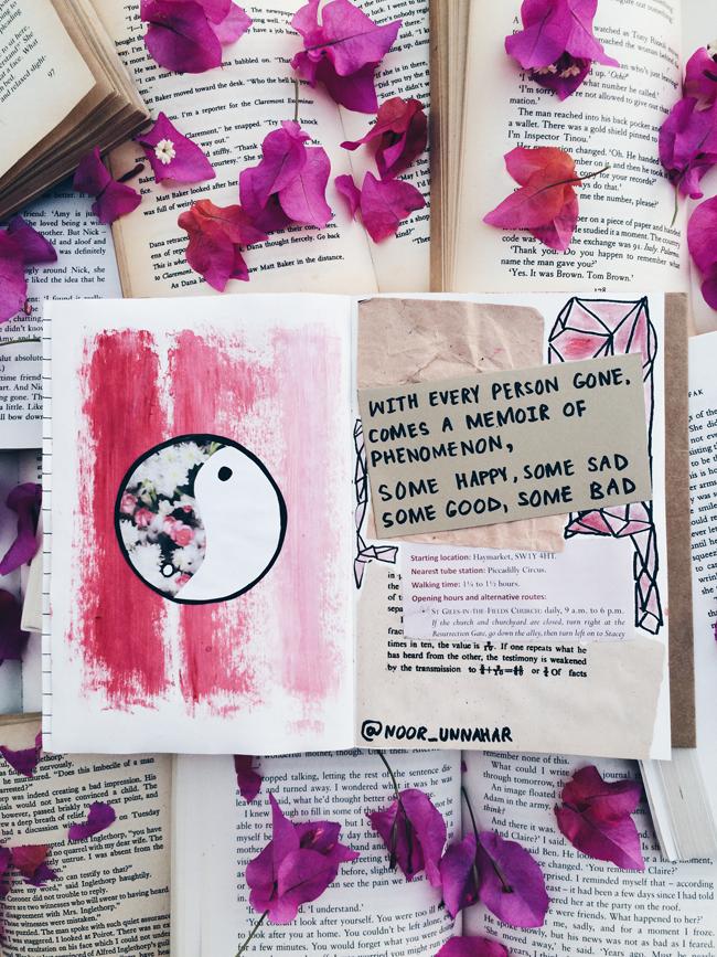 art journal noor unnahar tumblr aesthetics bookstagram flatlay
