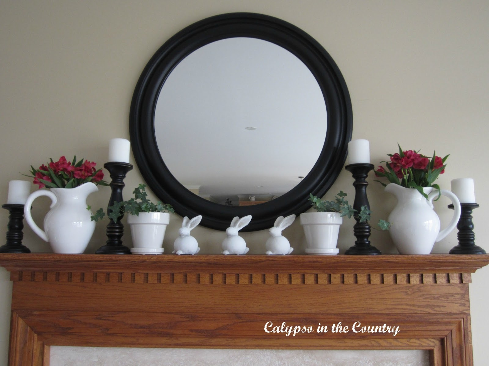 Spring Mantel with Round Mirror