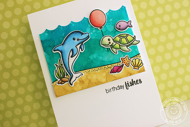 Sunny Studio Stamps: Oceans Of Joy Birthday Fishies Cards by Eloise Blue