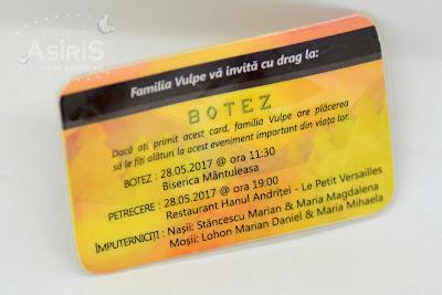 Invitatie Botez Card bancar personalizat vulpe verso