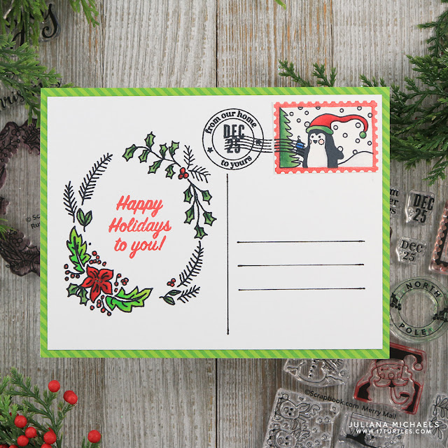 Happy Holidays Merry Mail Christmas Postcards by Juliana Michaels featuring Scrapbook.com Exclusive Stamp Set Merry Mail, Rustic Wreaths and Holly Jolly Sentiments