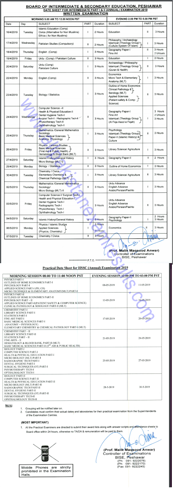 BISE Peshawar Board 11th 12th Class Date Sheet 2019