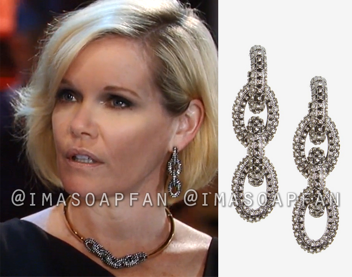 Ava Jerome, Maura West, Pave Chain Link Earrings, General Hospital, GH