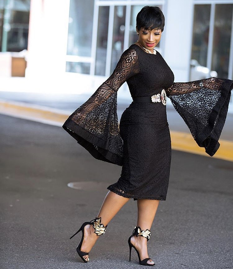 chicamastyle wearing a lace black bell sleeve evening dress