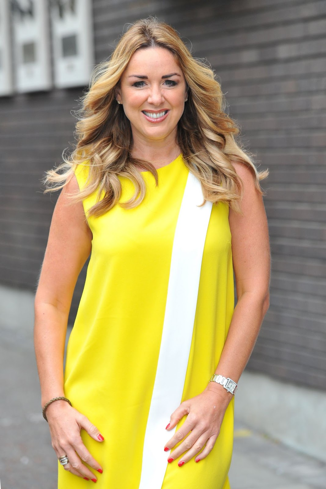 HQ Photos of Claire Sweeney in Yellow dress At iTV Studios In London
