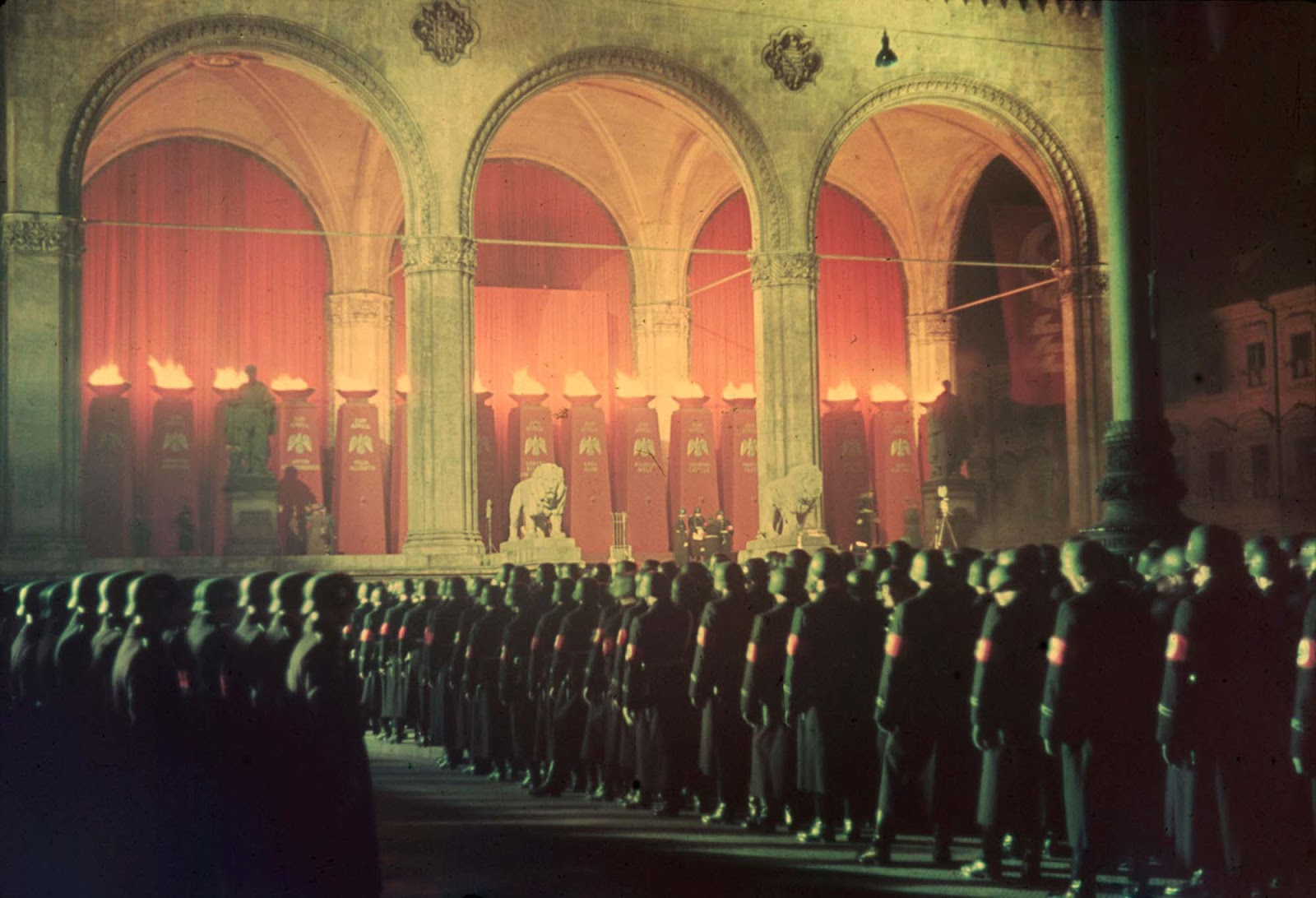 Annual midnight swearing-in of Nazi SS troops, Feldherrnhalle, Munich, 1938.