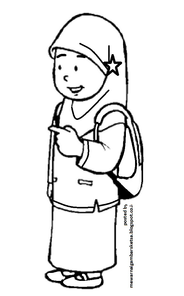 Mewarnai Gambar Mewarnai Gambar Sketsa Kartun Anak Muslimah 14