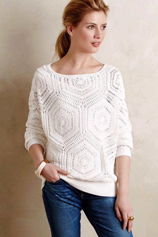 ef8074aa94a74a Free Crochet Pattern and Instructions for Anthropology Pullover - Picture  Based