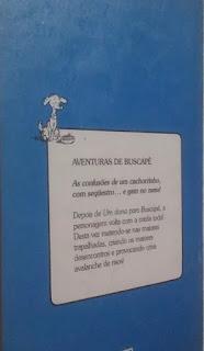 Aventuras de Buscapé. Giselda Laporta Nicolelis. Editora Moderna. Coleção Girassol. Contracapa. 1988.