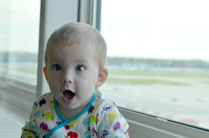 surprised baby, airport baby, ted baker baby