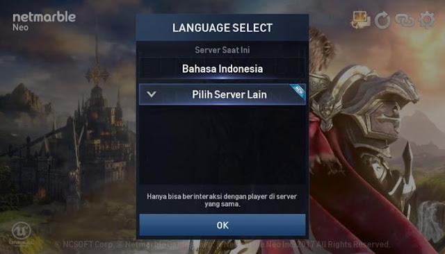 Cara Mengubah Bahasa sekaligus Server di Lineage 2 Revolution Indonesia