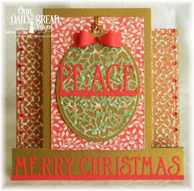 Our Daily Bread Designs Custom Dies: Merry Christmas Border, Holly Oval, Oval, Matting Circles, Small Bow, Our Daily Bread Designs Paper Collection: Holly Jolly, Our Daily Bread Designs Fun and Fancy Folds Card Kit - Center Step