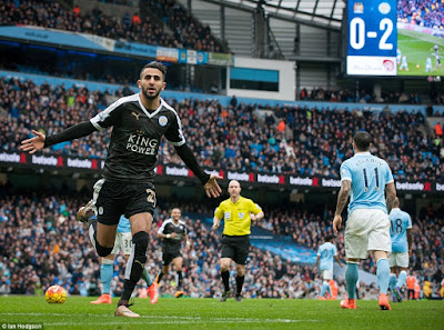 mahrez of leicester city scores against manchester city