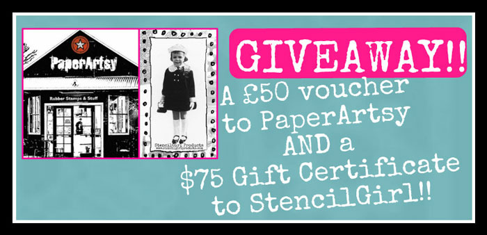 PaperArtsy and StencilGirl Giveaway blog badge
