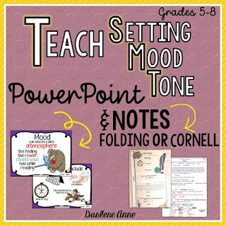 Setting, Mood, and Tone don't have to be too difficult for kids to understand. You just need a few tips and tricks to teach them. This unit will be a great help.  The guided notes come in two interactive styles: folding and Cornell. The 34 slide PowerPoint and the 23 page pdf include the following: ★ clear explanations on how to read closely to determine setting, mood, and theme ★ examples for modeling ★ video links to enhance the lesson  Specific setting, mood, and tone exit slips are also included!