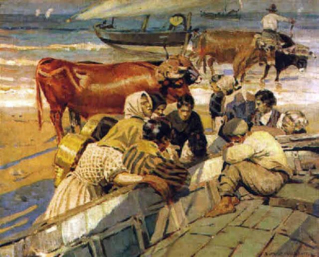 Llegada de las Barcas, Enrique Martínez Cubells, Pintor español, Pintores españoles, Martínez Cubells, Paisajes de Enrique Martínez Cubells, Pintores Valencianos
