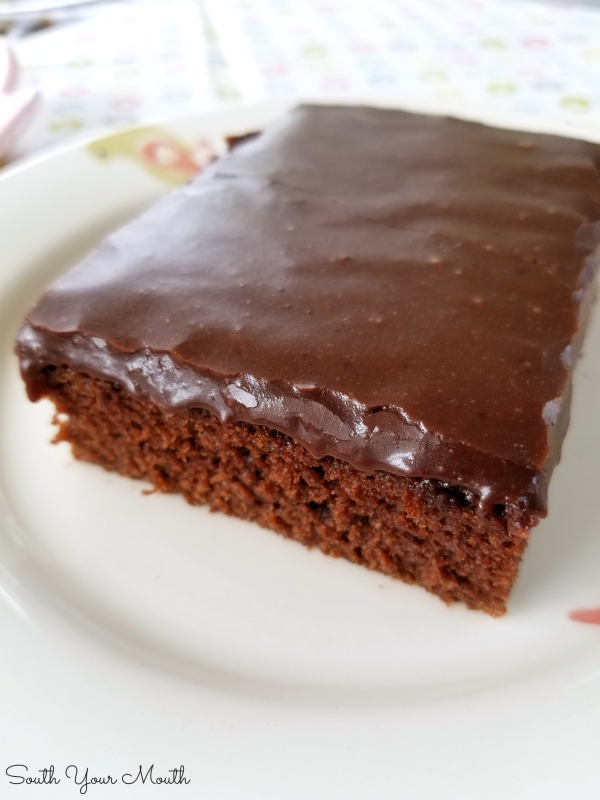 The BEST chocolate Texas sheet cake recipe that's as velvety tender as petit fours and so sinfully addictive you'll call it the devil!