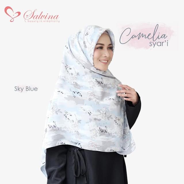 Jilbab Segi Empat Syari Panjang Terbaru Warna Biru