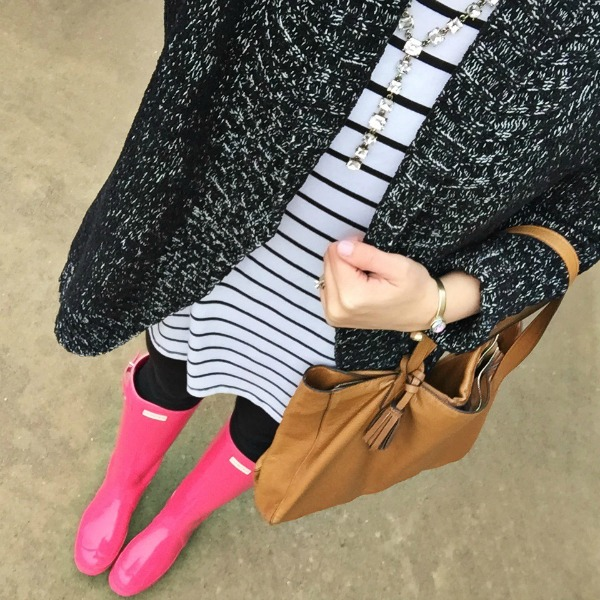 pink hunter boots, loren hope, marbled cardigan
