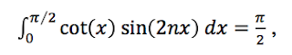From Gradshteyn and Ryzhik: The integral of cot(x) times sin(2nx) is pi/2.