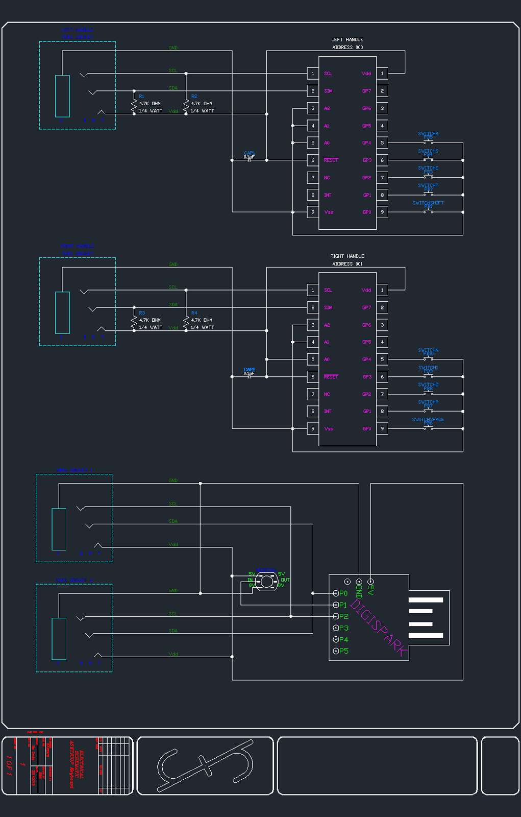 CAD Rendering of schematic for ASETNIOP hardware keyboard