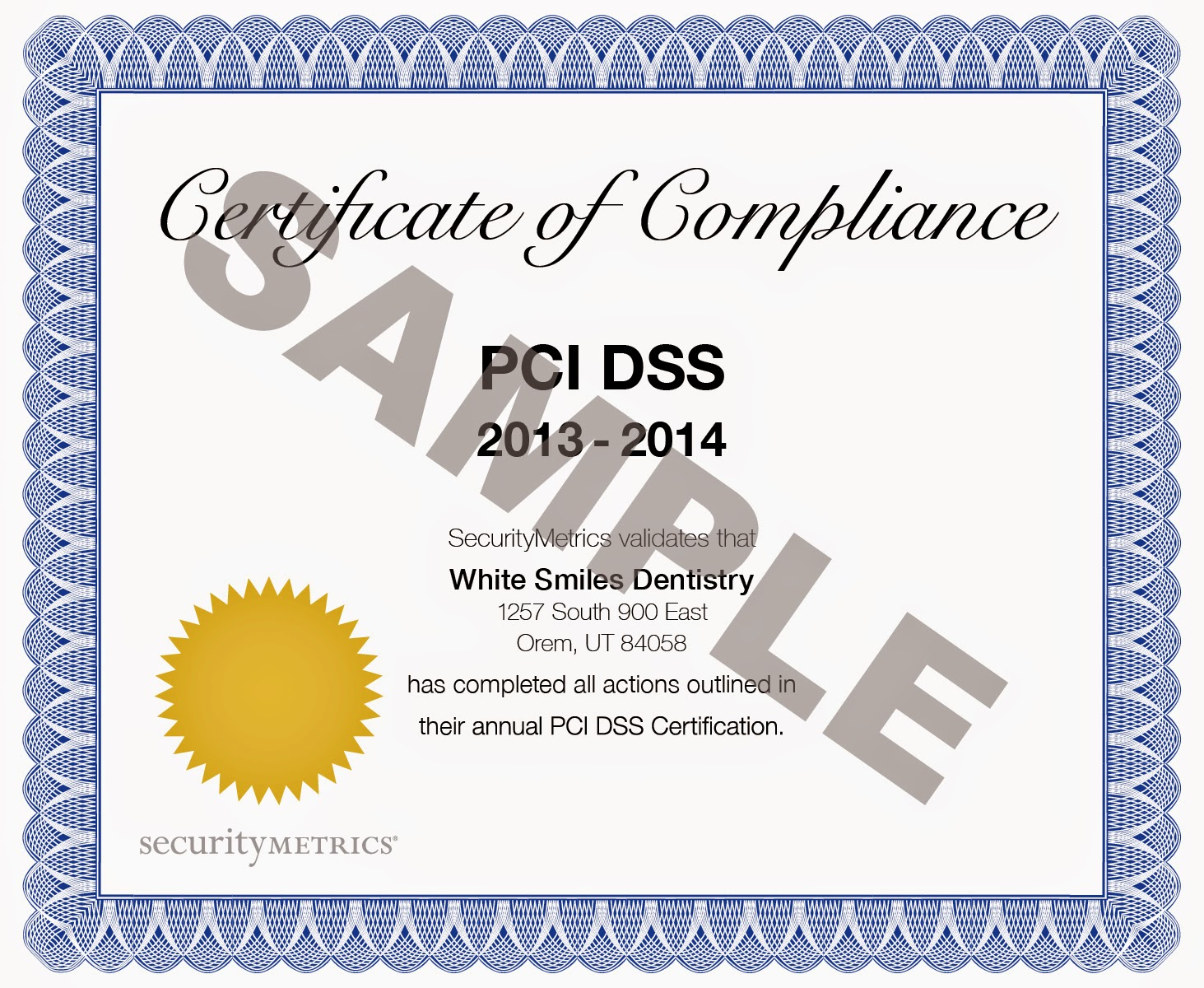 Sample PCI Certificate for the Payment Card Industry Data Security Standard