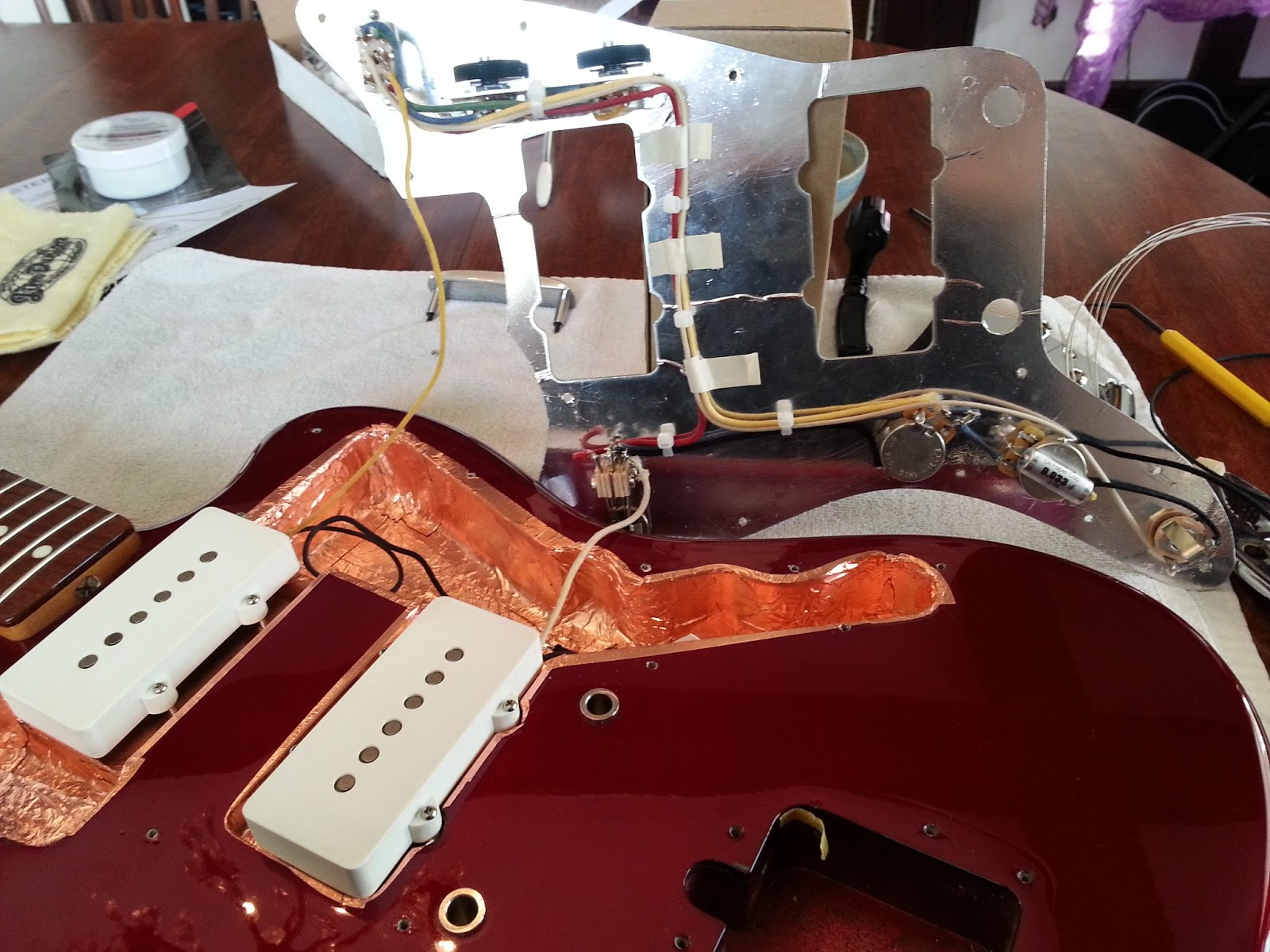 Upgrading All Fender Jazzmaster Wiring And Electronics In One Shot Jaguar Harness Is Where The Bridge Pickup Grounded From Factory But I Couldnt Even Get That Solder To Melt On This New My Soldering Iron Sucks