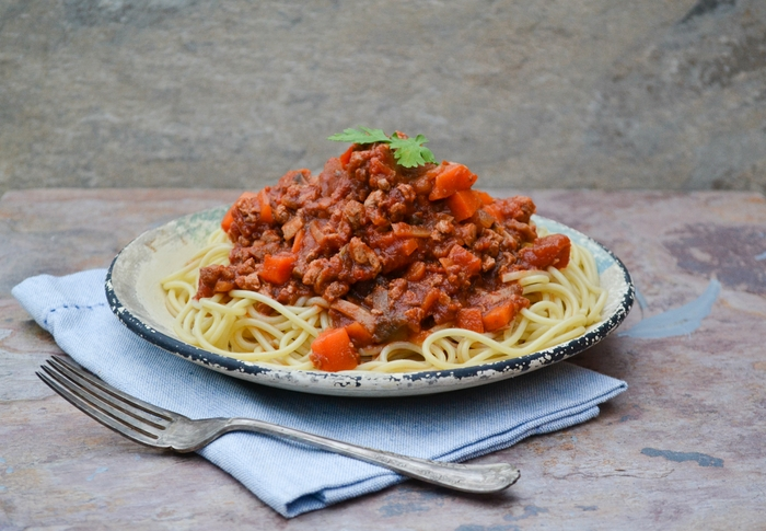Veggie bolognese sauce is a simple but super tasty sauce that is great on spaghetti or tagliatelle. It's a real family favourite and suitable for vegetarians, vegans and those on a dairy-free diet.