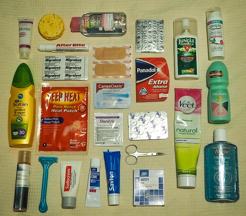 Variety of cosmetics and medication for travelling