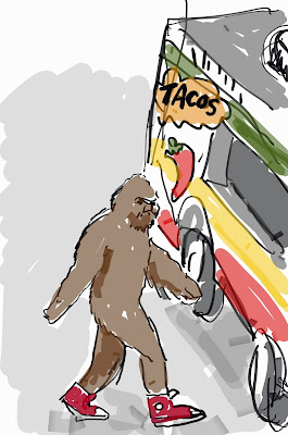drawing of Sasquatch at the taco truck on every corner. copyright 2016 by David Borden.