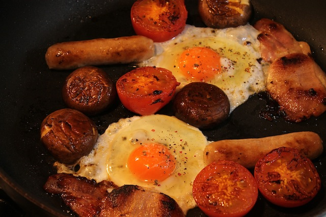 Food Lust People Love: Full English Fry-up is a quick, easy and delicious one-pan breakfast that includes all the traditional parts - bacon, sausage, tomatoes, mushrooms and eggs.