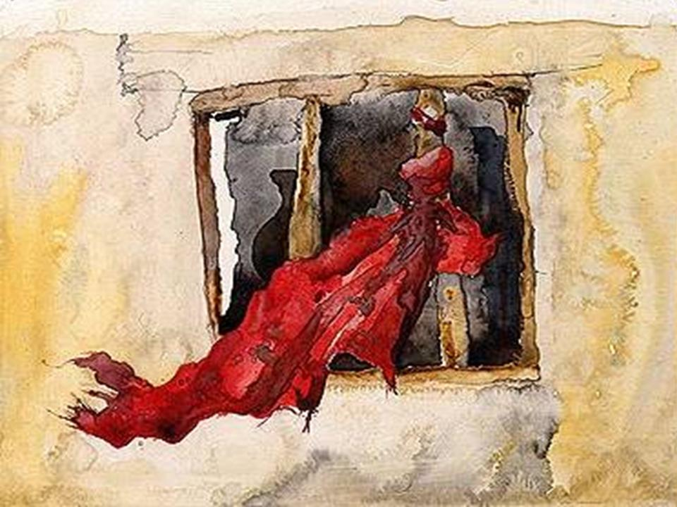 Rahab mark her house by hanging a red cord out the window.