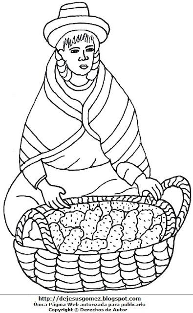 Dibujo de mujer trabajadora del campo para colorear pintar imprimir. Dibujo de mujer de Jesus Gómez