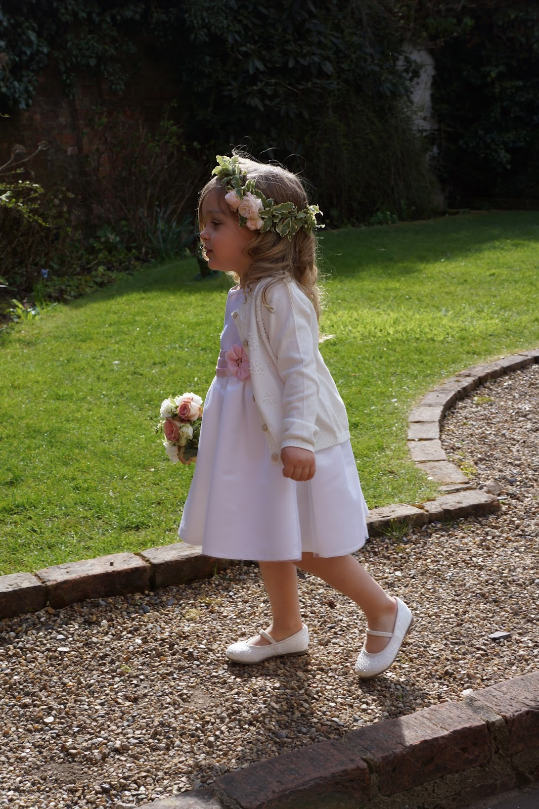 toddler wedding flower girl white pink dress with antique vintage grecian flower crown