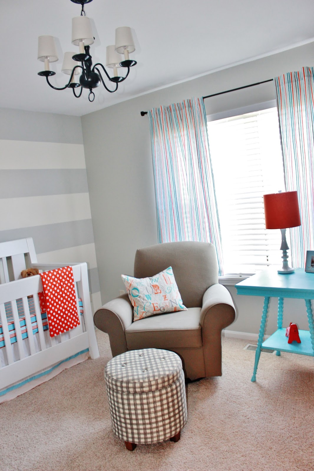 Baby Boy Nursery Tour: Finally! Our Baby Boy's Aqua, Orange, & Grey Nursery