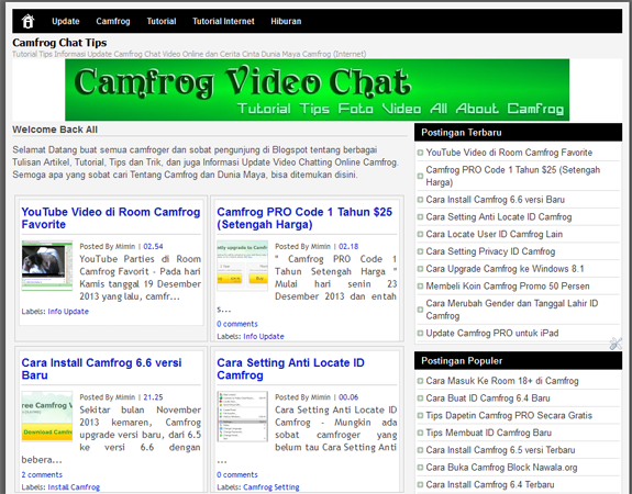 Template Camfrog Chat Blog Baru