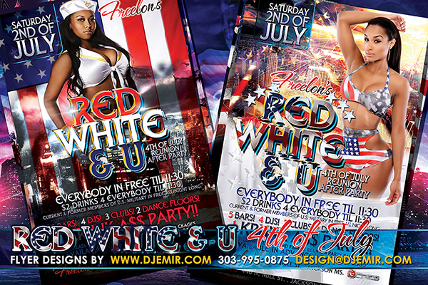 Red White And U 4th Of July Independence Day Flyer Design 2016