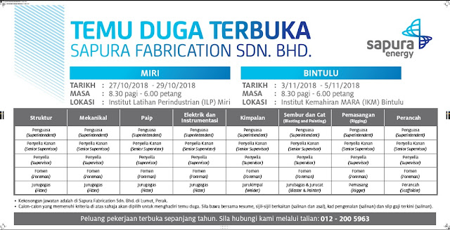 Temuduga Terbuka Sapura Fabrication Sdn. Bhd.