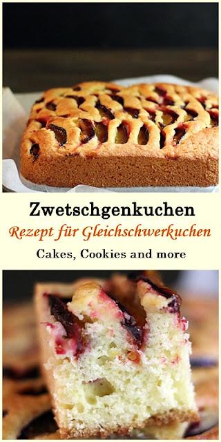 Rezept für Zwetschgenkuchen - Gleichschwerkuchen