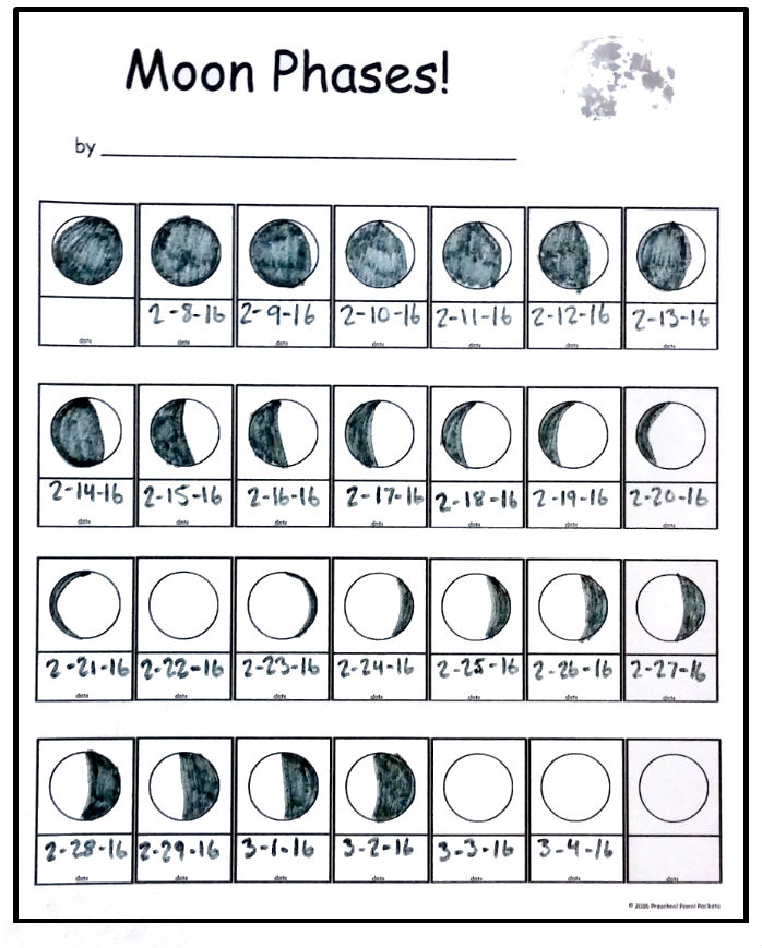 Free Moon Phase Tracking Printable Preschool Powol Packets