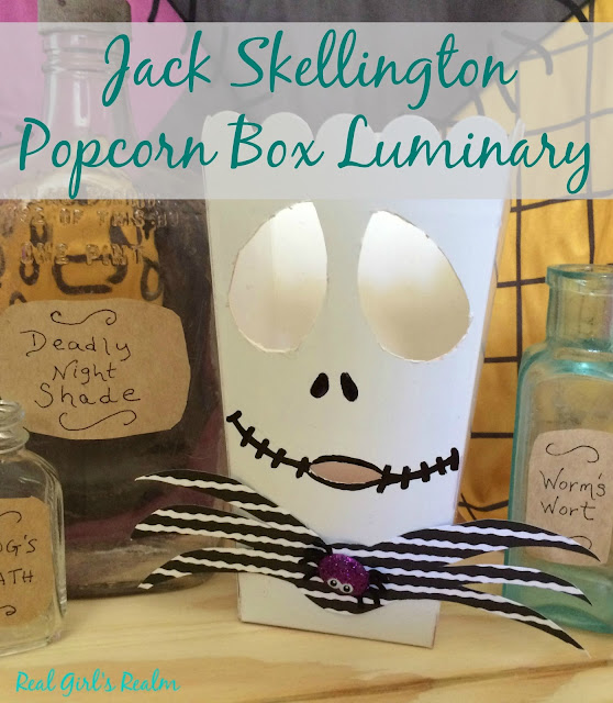 Make a Nightmare Before Christmas Luminary using a Popcorn Box