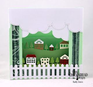 Our Daily Bread Designs Custom Dies: Diorama with Layers, Cloud Borders, Neighborhood Border, Fence, Paper Collection: Christmas 2017