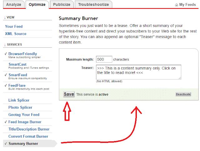 Configure Summary Burner Section of Feedburner