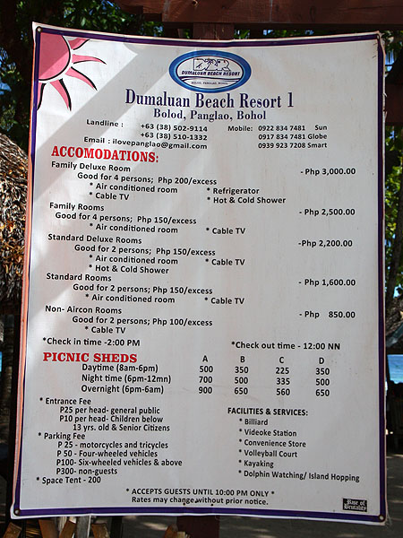 Dumaluan Beach Resort I Price List