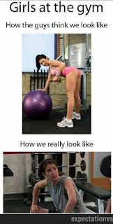 5. Young girls expectation in the fitness center.