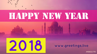 Sun rise time New Year 2018 Greeting on Tajmahal