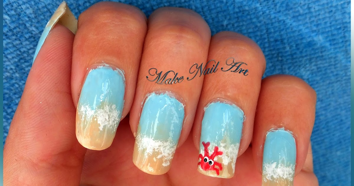 Make Nail Art: Easy Beach Nails With A Crab Nail Art Tutorial